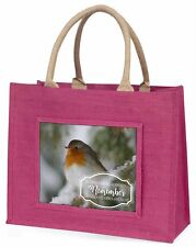 Little Robin Red Breast Large Pink Shopping Bag Christmas Present Id, Robin-1BLP