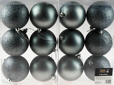 Set Of 12 Large Graphite Grey Christmas Tree Baubles Decorations