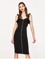 BNWT Zara knit black zip front bodycon fitted midi dress S 8 10
