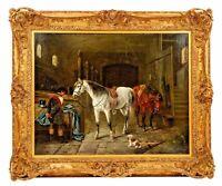 Adolf Friedrich (1824-1889) German Horse Amazing Original Oil Painting