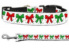 Mirage Christmas Bows Christmas Nylon Cat and Dog Collar and Leash Combo