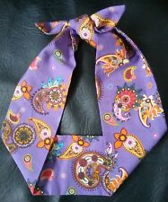 PURPLE PAISLEY handmade 50's retro self tie headband rockabilly hairband bandana