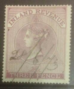 GREAT BRITAIN 1860-1867 POSTAL FISCAL 3d PEN CANCEL MIN CAT £120