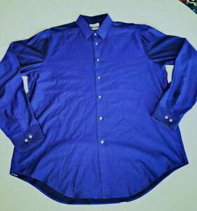 CALVIN KLEIN Mens Dress Shirt Blue Slim Fit  17 1/2 Long Sleeve Button Up