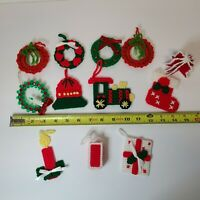 Lot Of 11 VTG Handmade Plastic Canvas, Crocheted & Beaded Christmas Ornaments
