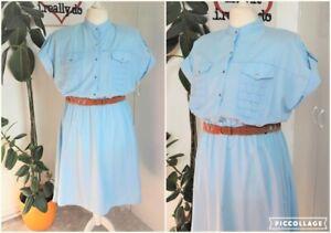 Vintage Early 80s Baby Blue Polycotton New Wave Midi Swing Sun Dress Size 18