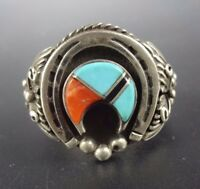 Vintage NAVAJO Heavy Sterling Silver CORAL & TURQUOISE NAJA Inlay RING, size 11