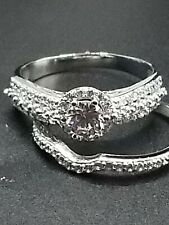 Haosg 925 Sterling and Crystal Ring Set - Size 9.5