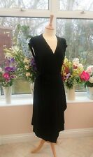 Stunning LAURA ASHLEY Black beaded long wrap style dress size 16