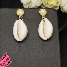 Girl Betsey Johnson Women Stand Earrings New White Enamel Cute Shell Pearl