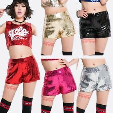 Women Sequin Glitter Shorts Dance Jazz Club Wear Hot Pants Trousers Shiny Mini