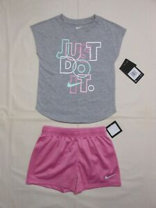 NWT Nike Little Girls 2pc grey heather shirt and short outfit set; Size 6 & 6X
