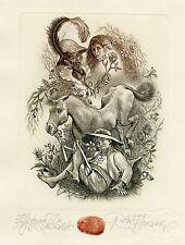 Don Quixote, Quijote, Horse, Ex libris Free Graphic Etching by Robert Baramov