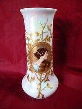 Heubach Lichte Jugendstil Vase handgemalt Goldauflagen Porträt einer Dame
