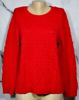 CROFT & BARROW Red Woven Pattern Pullover Sweater XL 100% Cotton Long Sleeves