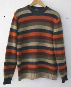 Vtg United Colors of Benetton Rainbow Striped 100%Pure New Wool Sweater Jumper L