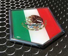 "Mexico Flag Domed CHROME Emblem Proud Flag Car 3D Sticker 2""x 2.25"""