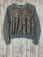 Women's Vince Heather Gray Raglan Bronze Metallic Sequin Sweatshirt Size Small