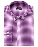 Bar Iii Men's Slim-Fit Stretch and Easy Care Mulberry Check Dress Shirt~NWT~M