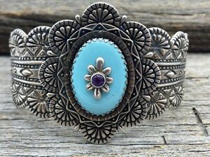 Carolyn Pollack Relios Sterling Silver Turquoise & Amethyst Wide Cuff Bracelet