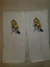 ALICE IN WONDERLAND WHITE BATH HAND TOWEL SET 2 + PERSONALIZE
