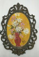 VINTAGE ORNATE BRASS TONE OVAL PICTURE  Floral painting VICTORIAN by Ross Miller