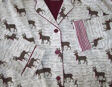 NWT PJ Salvage Ivory/Brown/Wine WINTER MOOSE Cotton Flannel Pajama/Lounge Set M