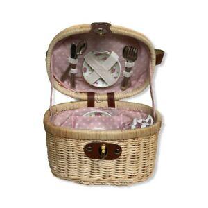 Vintage Travel Childs Tea Party Set Porcelain Wicker Picnic Basket 20 Pcs