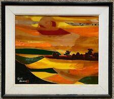 Vintage Abstract Landscape Mixed Media Painting Wall Hanging MCM Signed Kawana