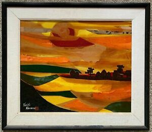 Vintage Abstract Landscape Mixed Media Painting Wall Hanging MCM Signed Kawana