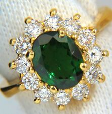 █$6000 2.78CT NATURAL VIVID INTENSE GREEN TSAVORITE DIAMONDS RING 18KT CLUSTER