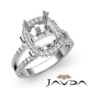 Split Shank Diamond Engagement Ring Platinum Pre-Set Cushion Semi Mount 1.53Ct
