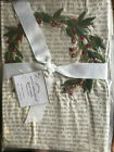 Pottery Barn Set 2 Wreath Embroidered Guest Towels Holiday New