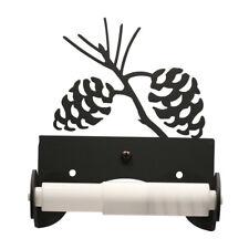 Wrought Iron Pinecone Toilet Tissue Paper Holder Black Bathroom Wall Hardware