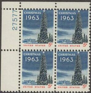 Scott # 1240 - US Plate Block Of 4 - Christmas Tree , White House - MNH - 1963