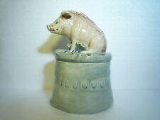 ANTIQUE BIG CERAMIC COIN MONEY BANK  PIG / WILD PIG GERMANY THE FIRST MILLION ..