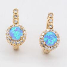 Blue Fire Australian Opal Crystal 18k Gold Plated Topaz Hoop Earrings Jewelry