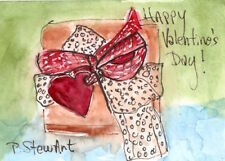 ACEO Happy Valentines Day Watercolor/Pen Original Art Painting by Penny StewArt