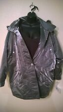 New NWT Atlantic Beach Coat Jacket Size Medium Metallic Silver Puffer Faux Fur