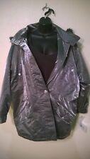 New NWT Atlantic Beach Coat Jacket Size Medium Metalic Silver Puffer Faux Fur