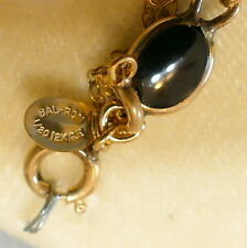 "Jewelry Bracelet Gold Filled 1/20 12K Black Onyx Oval New in Box 7.5"" BAL RON"