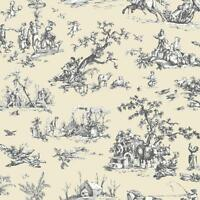 Wallpaper Designer French Country Scenic Cream and Eggshell White Toile