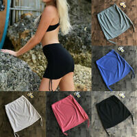 Women Skirt Wrap Swimming Beach Dress Wear Solid Short Bikini Cover Up Skirt