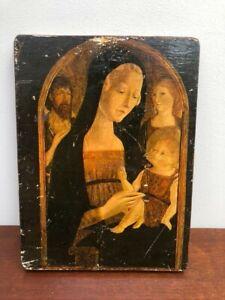 Vintage Medieval Icon Art Print of  Virgin Marry, Child Jesus, Angels & Saints