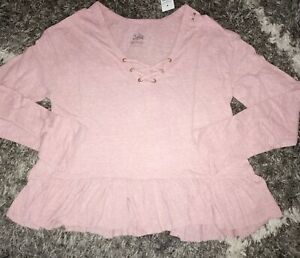 Girls justice lace up ruffled long sleeve top size 14 new heathered pink