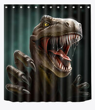 "72x72""Bathroom Polyester Shower Curtain-Fearsome Dinosaur-Free 12pcs hooks 2382"