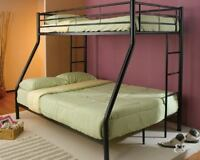 NEW CONTEMPORARY TWIN OVER FULL BLACK TUBULAR METAL BUNK BED w/ BUILT IN LADDER