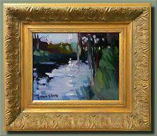 JOSE TRUJILLO Original FRAMED Oil Painting Impressionism Tonalist Pond Moon Sky