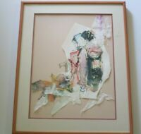 JAPAN CHINA? PAINTING ABSTRACT EXPRESSIONISM  MODERNISM SIGNED MYSTERY COLLAGE
