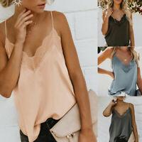 Women Sexy Satin Silk V Neck Lace Vest Camisole Tank Vest Blouse Loose Crop Tops